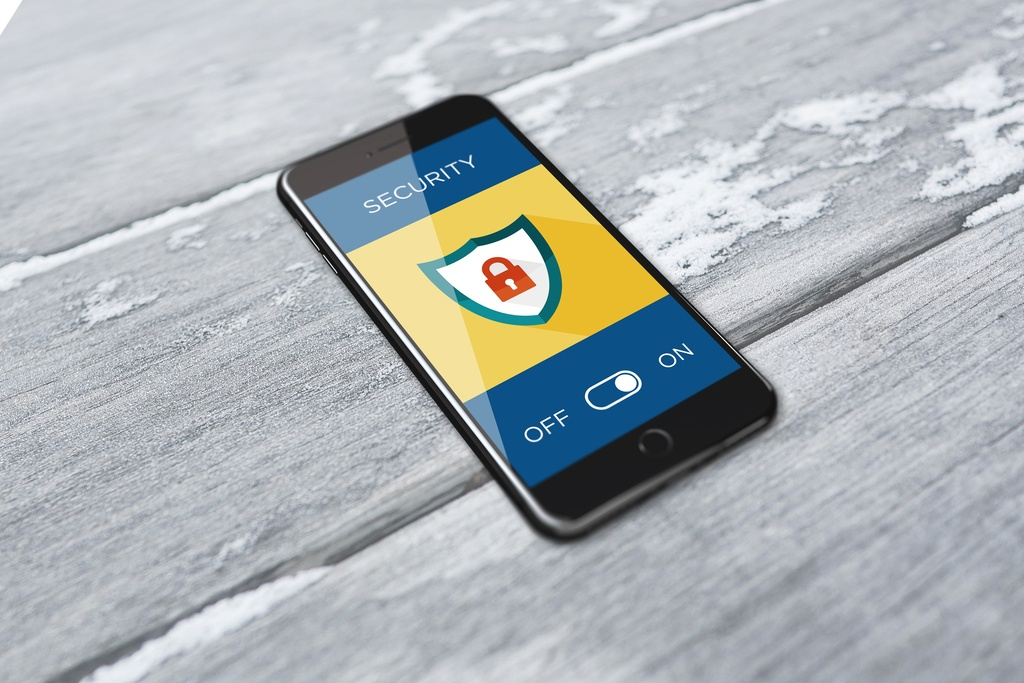 image of smartphone with security monitoring